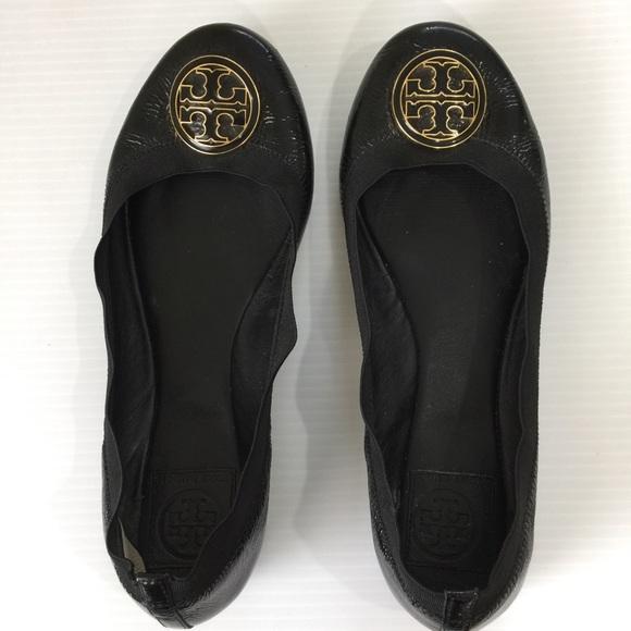 74a6d0758376 Tory Burch Caroline Black Patent Ballet Flat